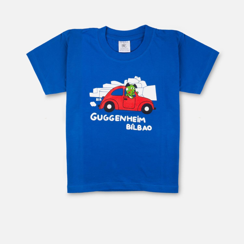 Camiseta infantil Puppy en coche