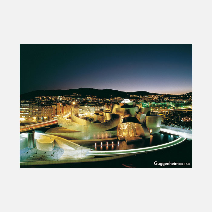 Vista nocturna del Museo Guggenheim Bilbao