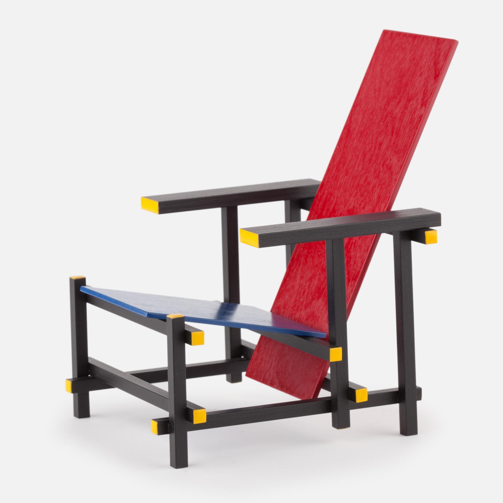 Miniature Rood blauwe stoel chair, Rietveld, 1918