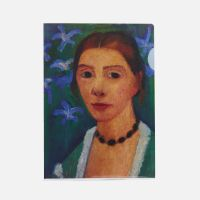 Dossier Autorretrato sobre fondo verde con lirios azules, 1900–07