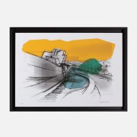 Framed fine art print with Museum sketch